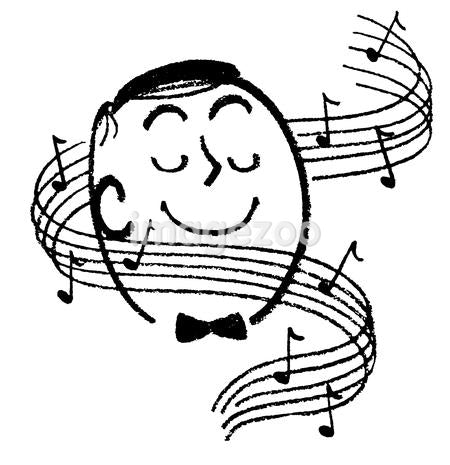 A black and white version of a cartoon style image of a man surrounded by musical notes
