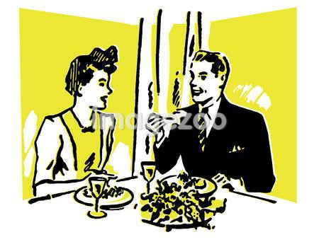 A vintage illustration of a couple enjoying a meal at a restaurant