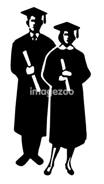 A black and white illustration of two graduates with their diplomas