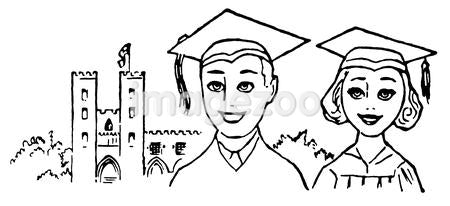 A black and white illustration of two graduates