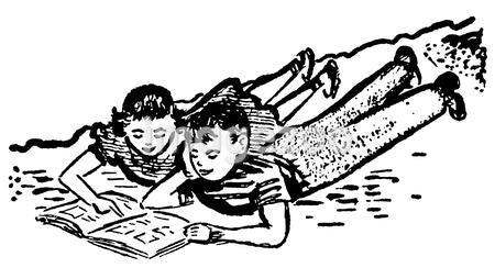 A black and white version of a vintage illustration of two children doing homework together