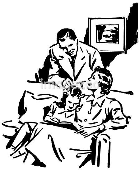 A black and white version of a vintage illustration of a family relaxing at home