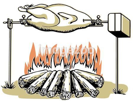 An illustration of a chicken roasting on an open fire