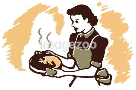 A vintage illustration of a woman carrying a dish hot from the oven