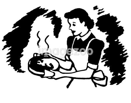 A black and white version of a vintage illustration of a woman carrying a dish hot from the oven