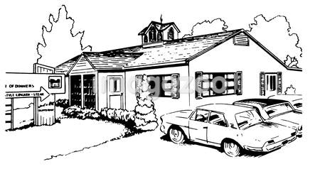 A black and white version of a vintage illustration of a suburban home
