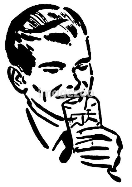 A black and white version of a print of a man drinking
