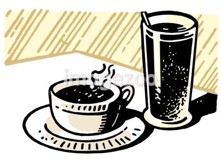 A print of a coffee and drink