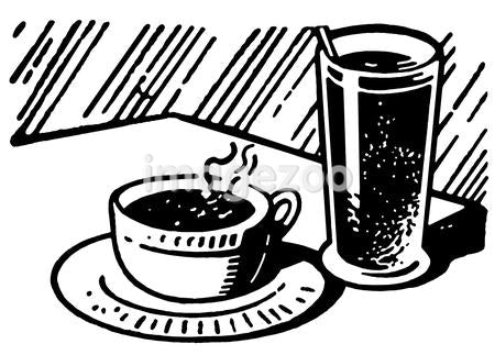 A black and white version of a print of a coffee and drink