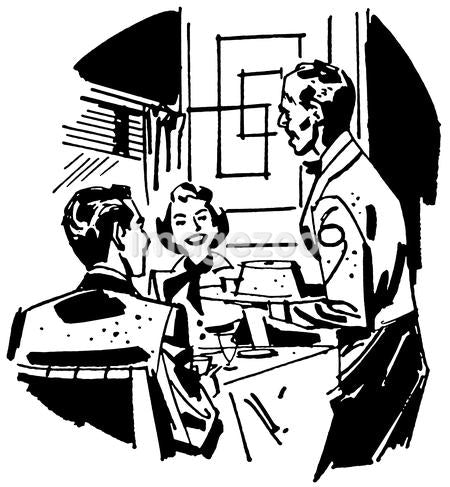 A black and white version of a vintage illustration of a couple dining at a restaurant