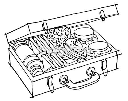 A black and white version of a full and luscious looking picnic basket