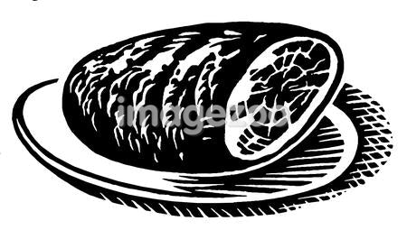 A black and white version of a vintage print of a ham