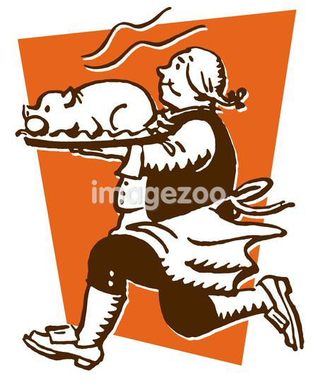 A vintage print of a man running with a roasted pig