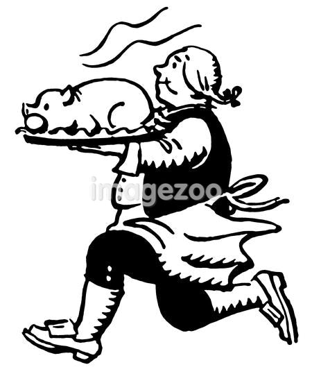 A black and white version of a vintage print of a man running with a roasted pig