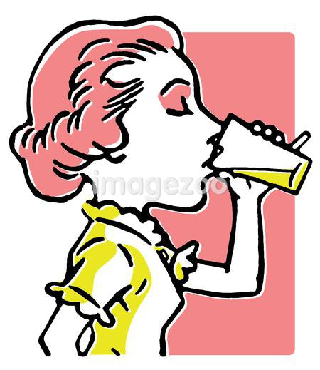A line drawing of a woman enjoying a refreshing drink