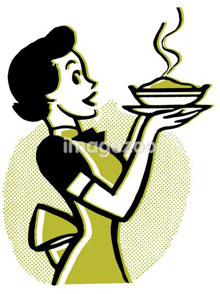 A vintage cartoon of a woman holding a hot pie
