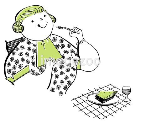 A vintage illustration of a robust woman enjoying cake