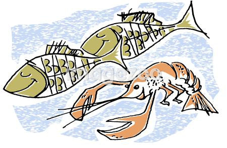An illustration of fish and lobster