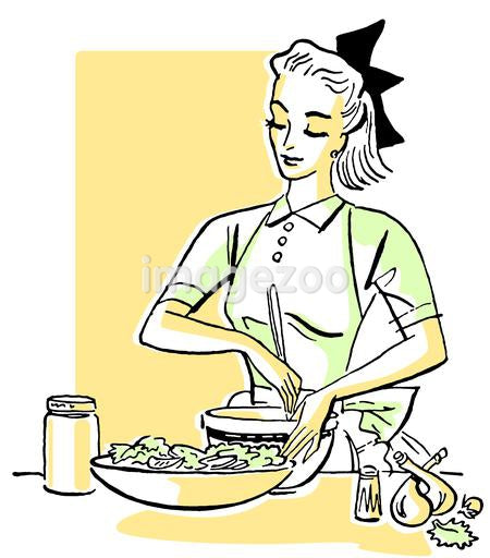 An illustration of a woman cooking