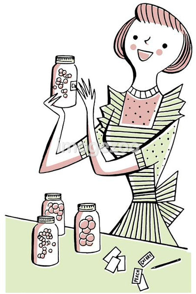 A vintage illustration of a woman labeling jars of fruit