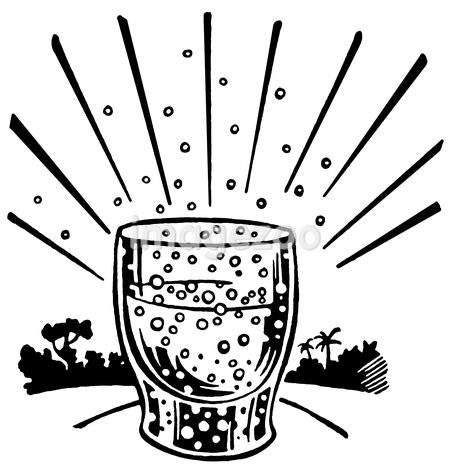 A black and white version of an illustration of an effervescent drink