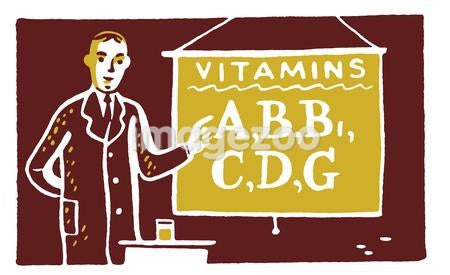 An illustration of a man with a sign reading Vitamins A, B etc
