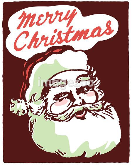 A Christmas inspired Santa illustration with the text Merry Christmas