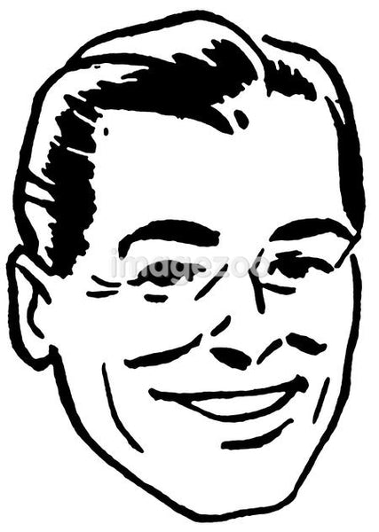 A black and white version of an illustration of a happy looking man
