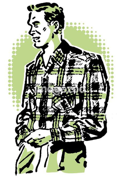 A vintage illustration of a man in a plaid shirt