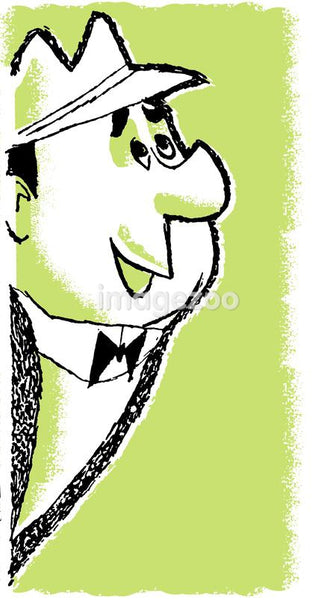 A cartoon style drawing of a smartly dressed man