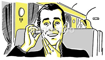 A vintage drawing of a man using an electric shaver on a train