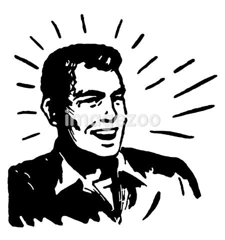 A black and white version of a graphical print of a happy looking man