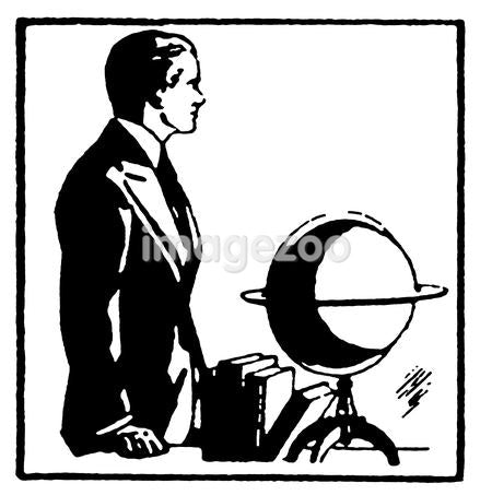 A black and white version of a graphical drawing of a man with a word globe