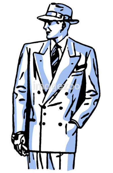 A graphical drawing of a detective character