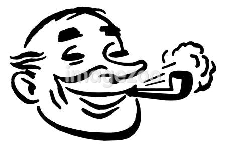 A black and white version of a cartoon style drawing of a man smoking a pipe