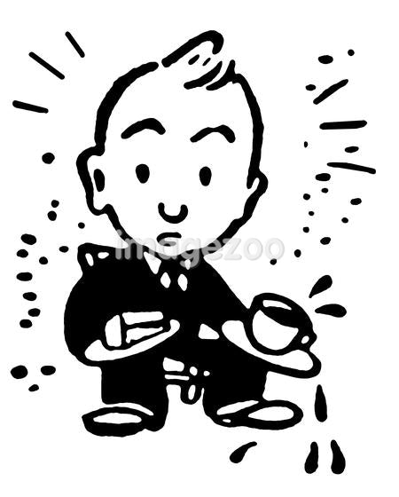 A black and white version of a cartoon style drawing of a fretting character