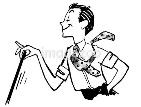 A black and white version of a cartoon style image of a man delicately waiving a cane