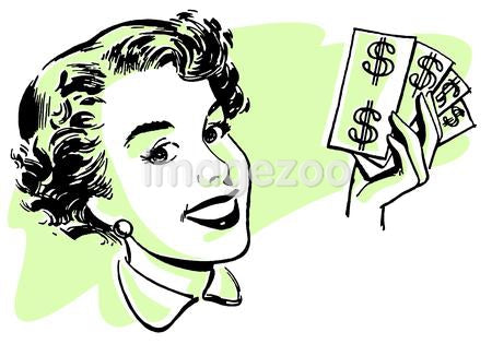 A graphical portrait of a woman with wads of cash