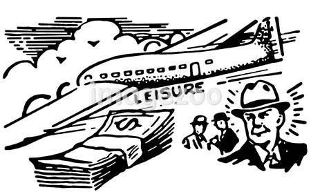 A black and white version of a graphical illustration of a man with a wad of cash and an airplane