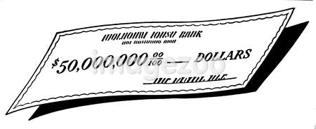A black and white version of a check written out for a large sum