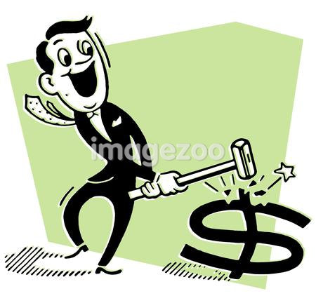 A cartoon style drawing of a businessman smashing a dollar symbol