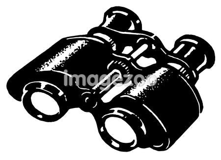 A black and white version of a vintage pair of binoculars