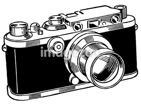 A black and white version of a vintage camera