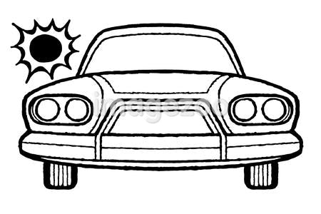 A black and white version of a frontal view of a car in the blistering sun
