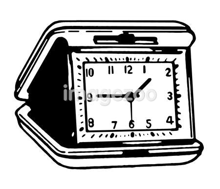 A black and white version of a vintage alarm clock