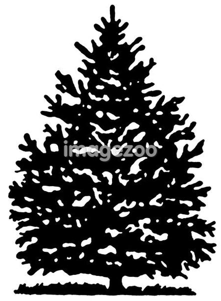 A black and white version of a Christmas Pine tree