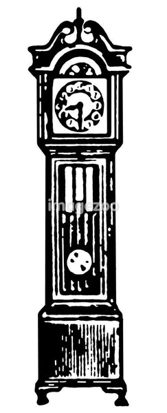 A black and white version of a vintage grandfather clock