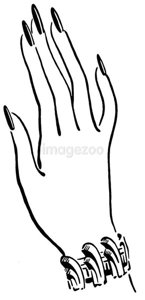 A black and white version of a well manicured hand