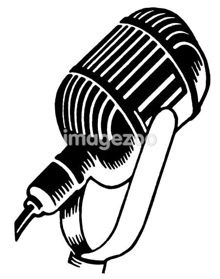 A black and white version of a vintage illustration of a microphone