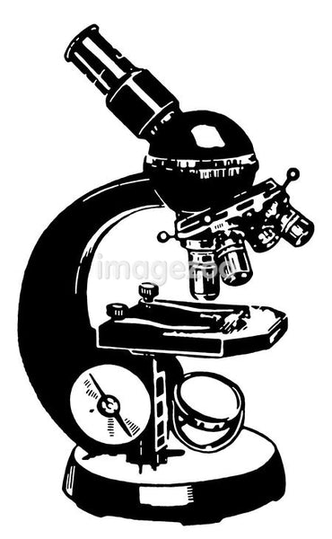 A black and white version of a vintage microscope